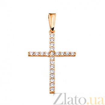 Золотой крестик с фианитами Лунная дорожка SUF--440342