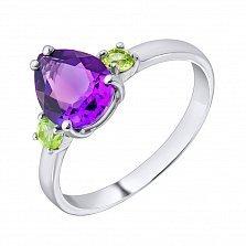 Серебряное кольцо с аметистом и зелеными гранатами 000123508