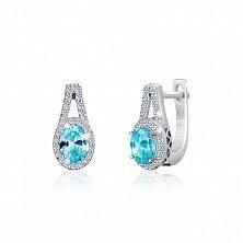 Серебряные серьги Эрнеста с голубыми и прозрачными фианитами