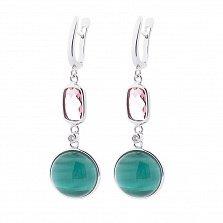 Серебряные серьги-подвески Марджори с завальцованными зелеными улекситами и фианитами