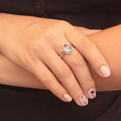 Серебряное кольцо Капля росы с гидротермальным морским кварцем