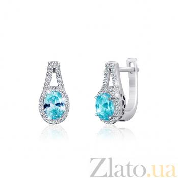 Серебряные серьги Эрнеста с голубыми и прозрачными фианитами 000024595