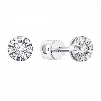Серьги-пуссеты из белого золота с бриллиантами 000106289