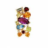 Золотой кулон с аметистом, бриллиантами, гранатами, перидотами, топазами и цитринами Катарина