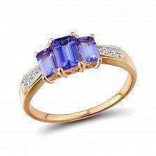 Кольцо из красного золота Анита с бриллиантами и танзанитами
