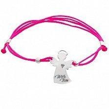 Ярко-розовый шелковый браслет Ангел-Хранитель с серебряной фигурной вставкой