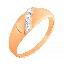 Серебряное кольцо с фианитами и позолотой 000025620