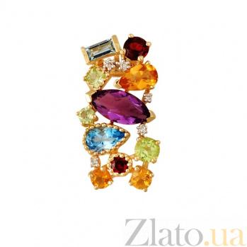 Золотой кулон с аметистом, бриллиантами, гранатами, перидотами, топазами и цитринами Катарина 000037741