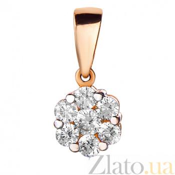 Золотой кулон с белым цирконием Марцелла SUF--440628
