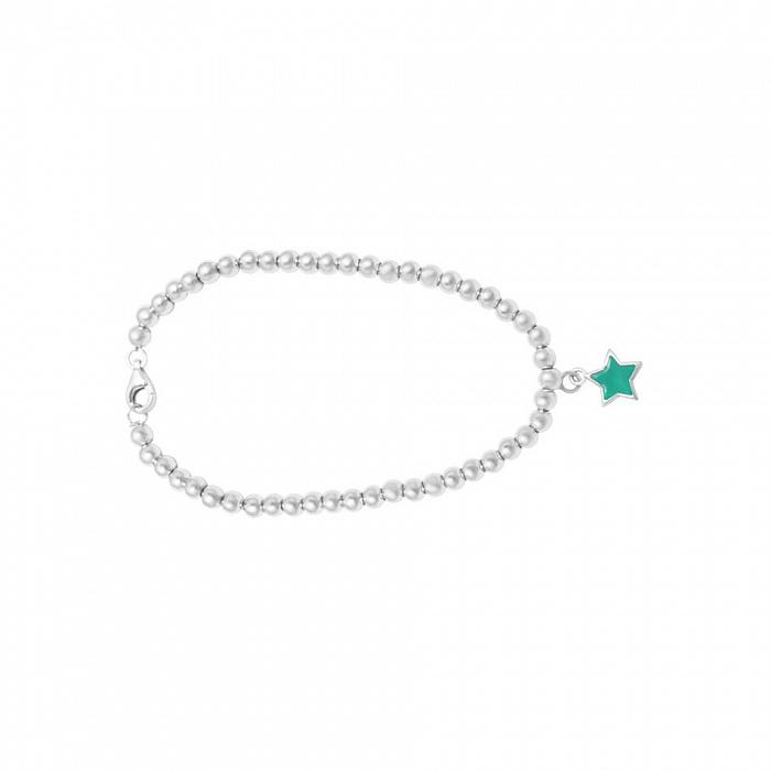Серебряный браслет Звонкая звезда с голубой эмалью 000082057
