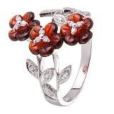 Золоте кольцо с бриллиантами Гранатовое соцветие