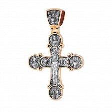 Серебряный крест с позолотой и чернением Воскрешение