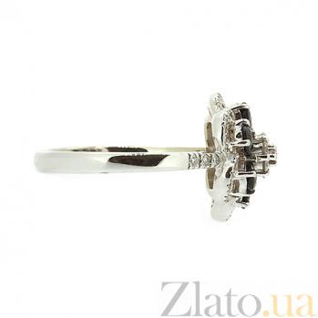 Золотое кольцо в белом цвете с сапфирами и бриллиантами Кларетта ZMX--RS-6623w_K