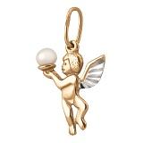 Золотой кулон Маленький Купидон с белой жемчужиной