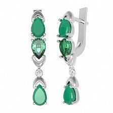 Серебряные серьги Арлина с зеленым агатом и зеленым кварцем