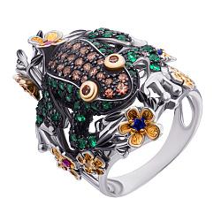 Серебряное кольцо с разноцветными фианитами, позолотой и черным родированием 000132896