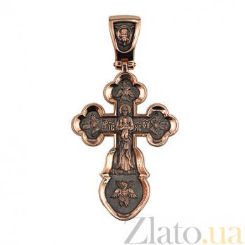 Золотой крестик с черным родированием Воскресный VLT--КС3031-3