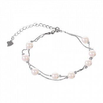 Срібний браслет з перлами 000027985