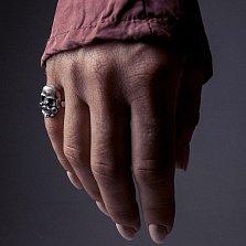 Серебряное кольцо Barry усатый череп с чернением
