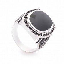 Перстень в белом золоте Соломон с черным ониксом и усыпкой черных фианитов