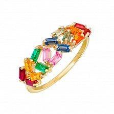 Кольцо в желтом золоте Конфитюр с разноцветными сапфирами, рубинами и изумрудами