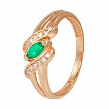 Золотое кольцо Офелия с зеленым ониксом и фианитами