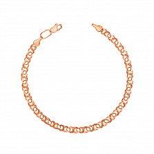 Золотой браслет Арабка в свободном плетении арабский бисмарк, 3мм