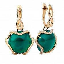 Золотые серьги-подвески с зеленым агатом Жанна