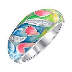 Кольцо из серебра с фианитами и эмалью 000147467