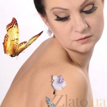 Золотая брошь с бриллиантами и изумрудами Орхидея 140611с/б