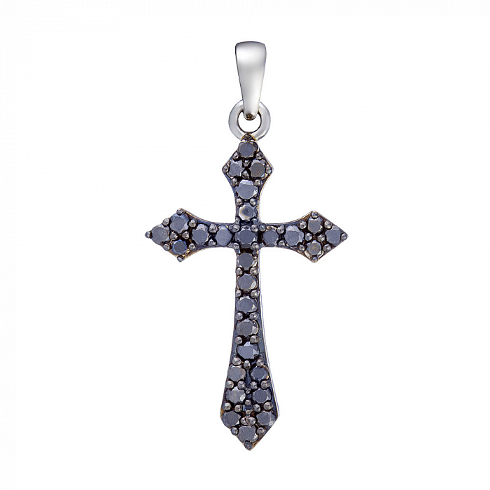 Золотой крестик Альтенда в белом цвете с сапфирами 000068298