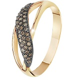 Золотое кольцо с коньячными бриллиантами Корделия