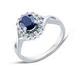 Серебряное кольцо с сапфиром и фианитами Тайна океана