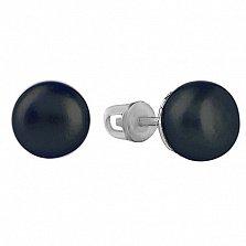 Серебряные серьги-пуссеты Милана с черным жемчугом, 8мм