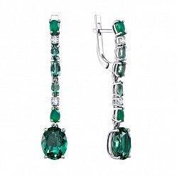 Серебряные серьги-подвески с зеленым кварцем и агатом 000063626