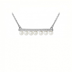 Золотое колье в белом цвете с жемчугом и бриллиантами 000118999