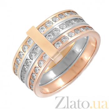Золотое тройное кольцо с фианитами Тамия ONX--к01913