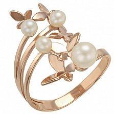 Золотое кольцо Полет мотыльков с жемчугом