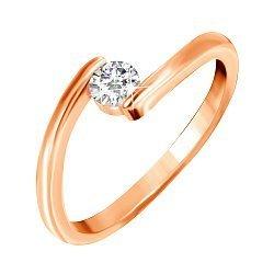 Серебряное кольцо с цирконием и позолотой 000045414