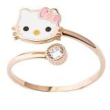 Золотое кольцо с фианитом и цветной эмалью Китти