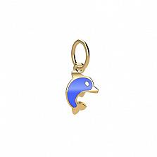 Золотой подвес с цветной эмалью Дельфинчик