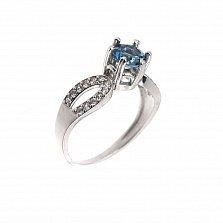 Серебряное кольцо Авиани с лондон топазом в высоком касте и белыми фианитами