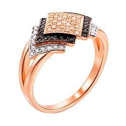 Кольцо из красного золота с черными и белыми фианитами 000103770