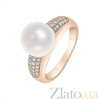 Кольцо в красном золоте Катерина с жемчугом и бриллиантами 000044927