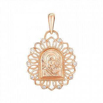 Золотая ладанка Пресвятая Мария и Сын с фианитами  000046273