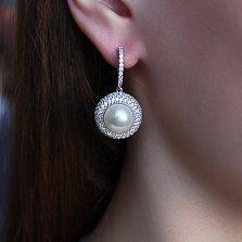 Серебряные серьги Ардин с белым жемчугом и цирконием