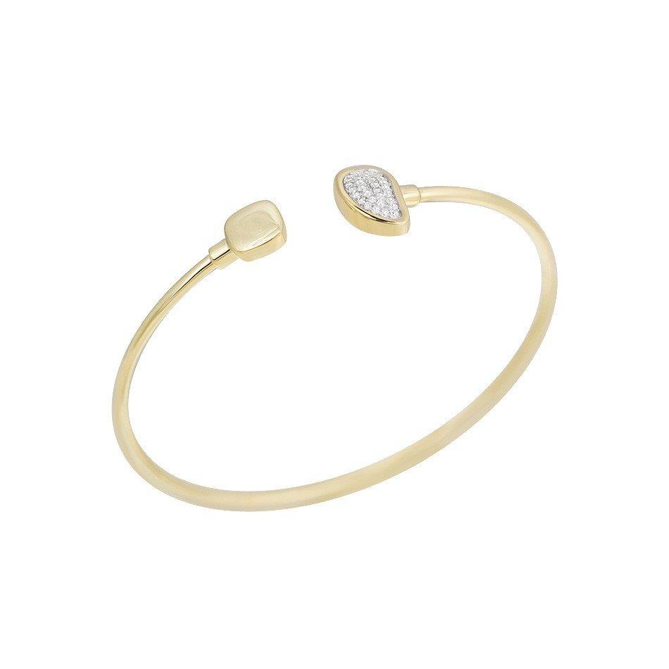 Золотой литой браслет Виктори в желтом цвете с фианитами
