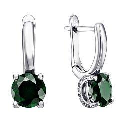 Серебряные серьги с зеленым кварцем 000064456