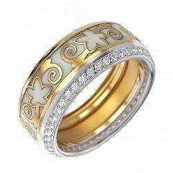 Золотое обручальное кольцо Кэйт в комбинированном цвете с бриллиантами и белой эмалью