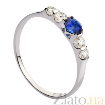 Кольцо из белого золота с сапфирами и бриллиантами Келия 000030378